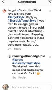 Target comment asking for permission