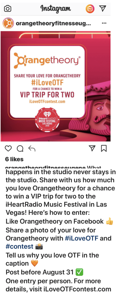 An Instagram post of a giveaway contest