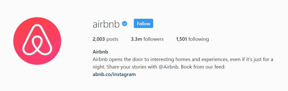 Airbnb's instagram bio encourages audience engagement