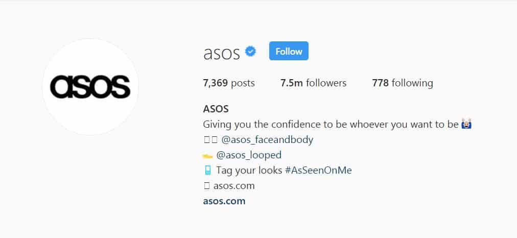 ASOS uses used emoticons in place of words for their instagram bio