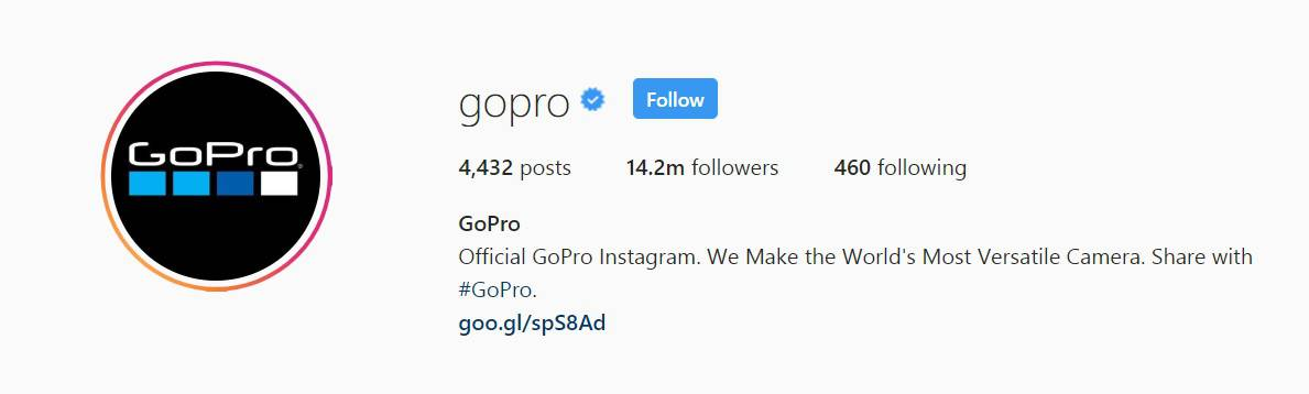 GoPro's Instagram bio says they make the world's most versatile camera