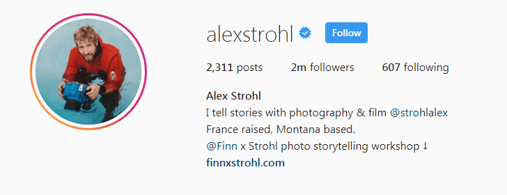 Screenshot of Alex Strohl's Instagram account