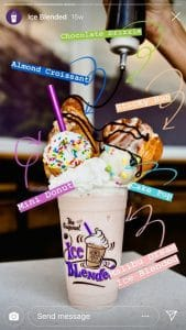 CBTL shows off their Ice Blended Drink in this Instagram Story