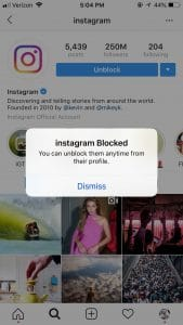 instagram user blocked screenshot