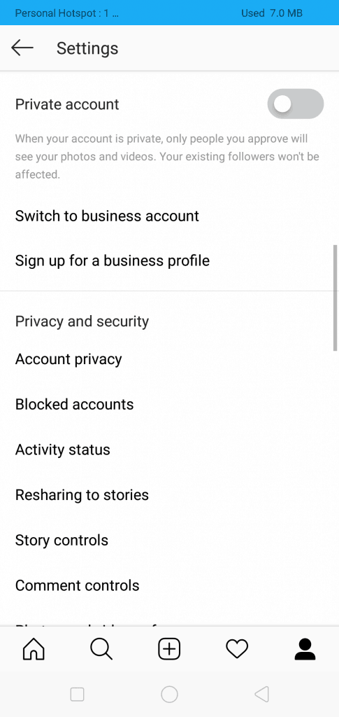 Blocked Account on Instagram Settings