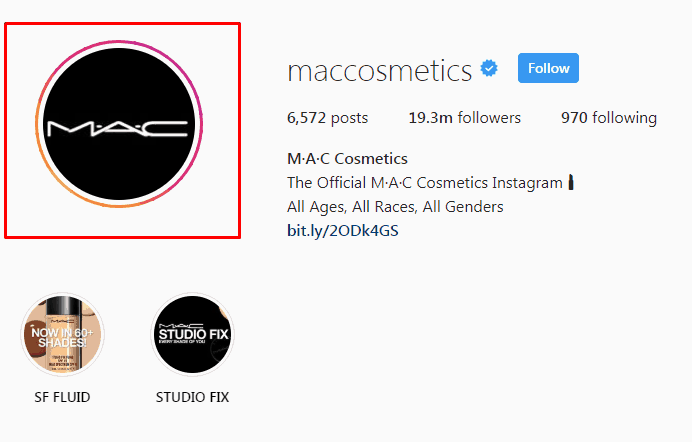 Mac Cosmetics Instagram Screenshot