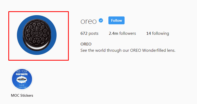 Oreo Instagram Screenshot
