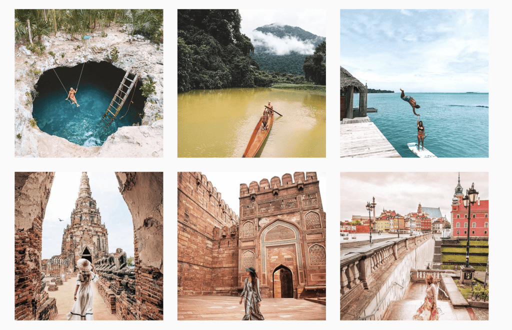 A snapshot of a curated travel account.