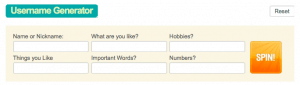 Screenshot of a username generator showing the fields to enter so it creates a IG username.