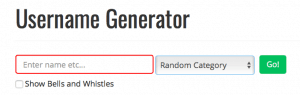 A screenshot of a second username generator with two fields to fill before it generates.