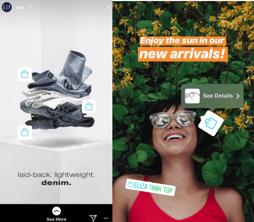 Screenshots of Shoppable Instagram Stories