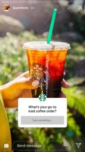 In this Insagram Story, Starbucks asks their followers what their go-to iced coffee order