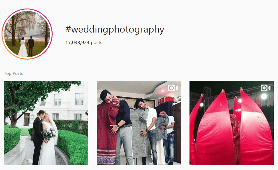 Screenshot of the #WeddingPhotography hashtag