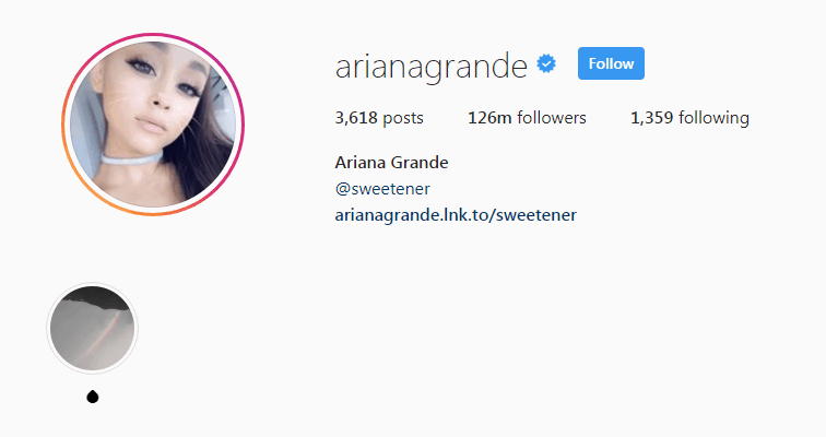 Screenshot of Ariana Grande's Instagram