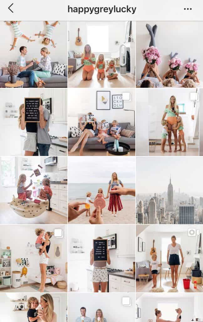 happy grey lucky uses similar themes throughout their instagram feed