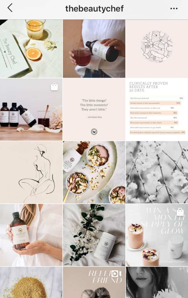 The Beauty Chef uses pastel hues in their feed