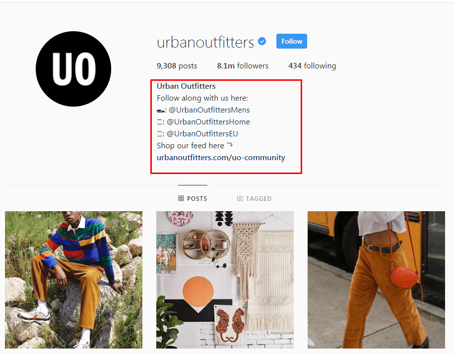Screenshot of urban outfitters profile