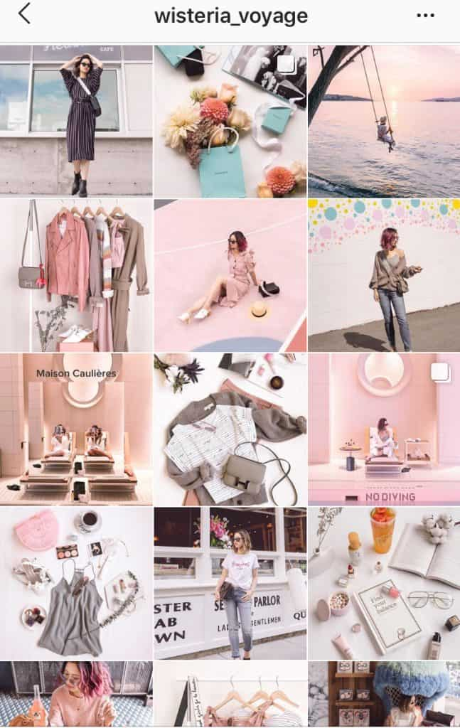 chic instagam feed with pastel hues