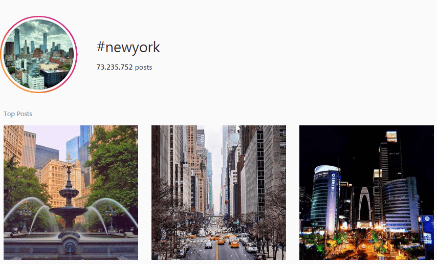 Screenshot of the #NewYork Instagram hashtag page
