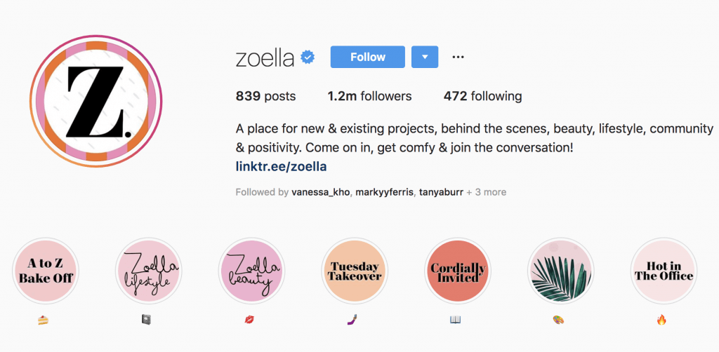 The Zoella Instagram Profile Picture and Highlights