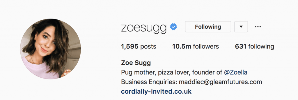 Zoe Sugg's Instagram Profile Picture