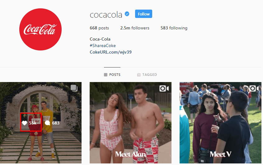 Screenshot of Instagram likes on the @CocaCola page