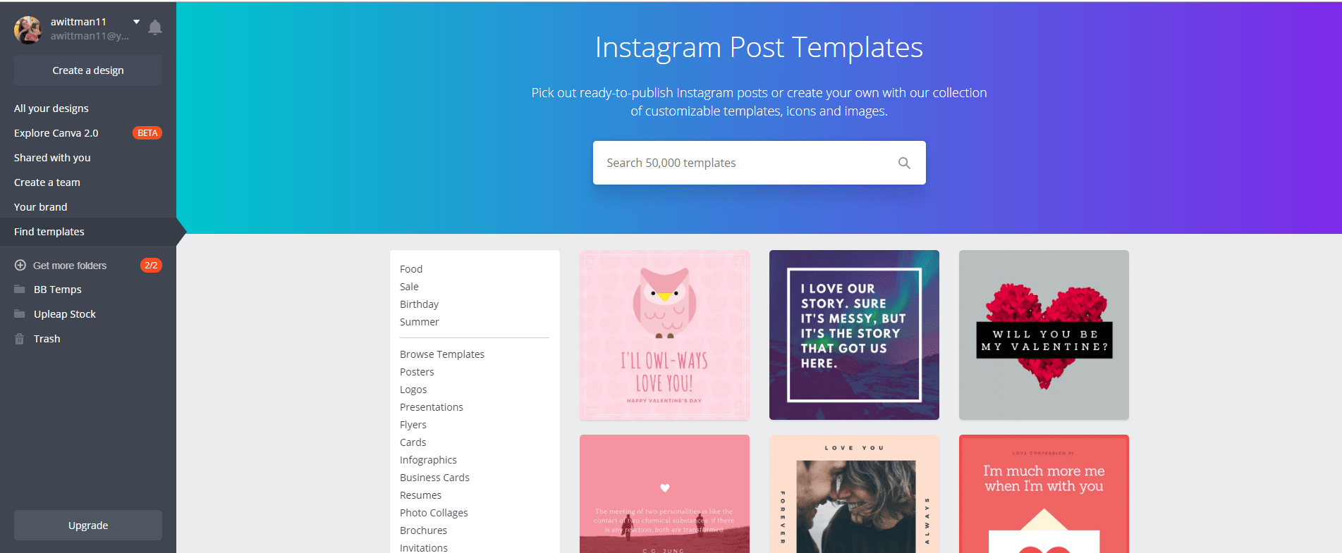 Make an amazing Instagram post template using one of our favorite Instagram template apps: Canva!