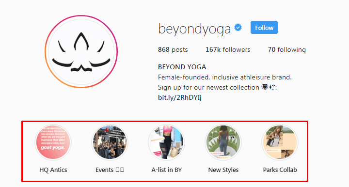 Screenshot of the Beyond Yoga Instagram page highlight reel