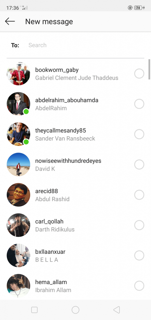 how to choose Instagram DM recipients