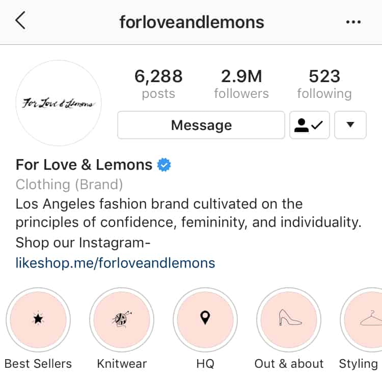 For Love and Lemons Highlights categories
