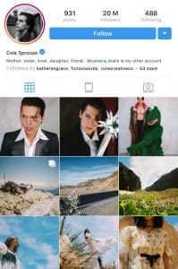 Cole Sprouse's Instagram Bio