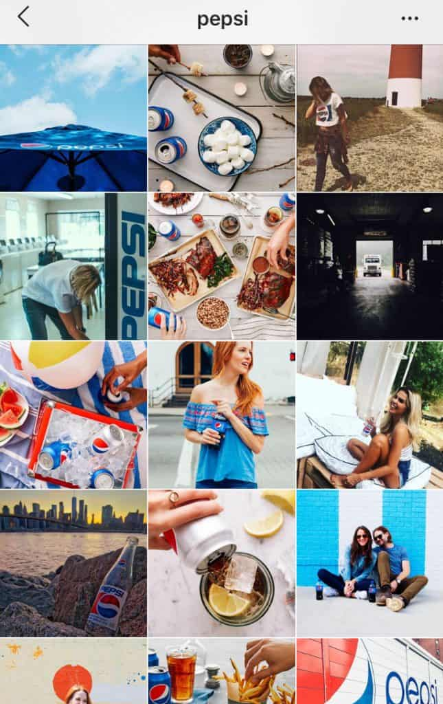 Pepsi Instagram feed