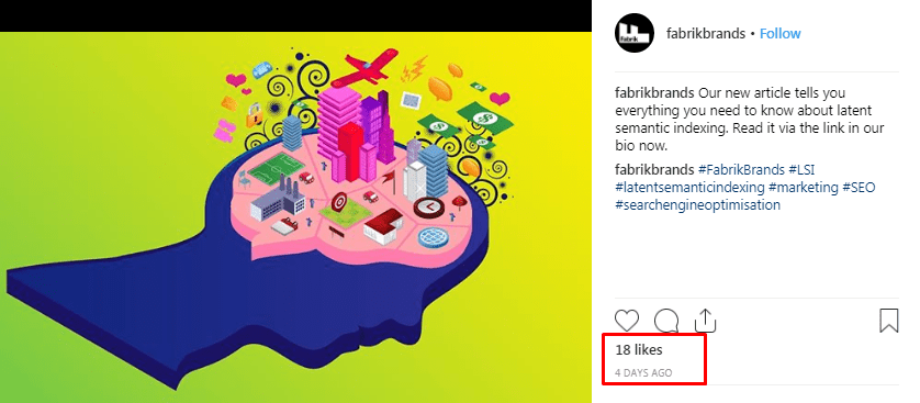 Example of Likes on an Instagram post