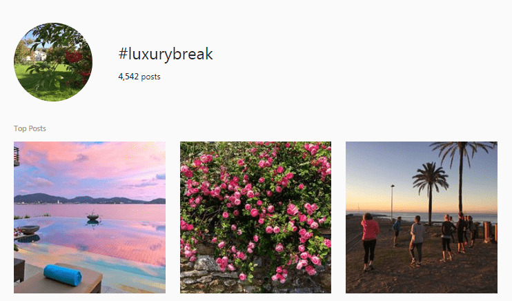 Screenshot of the #LuxuryBreak page on Instagram