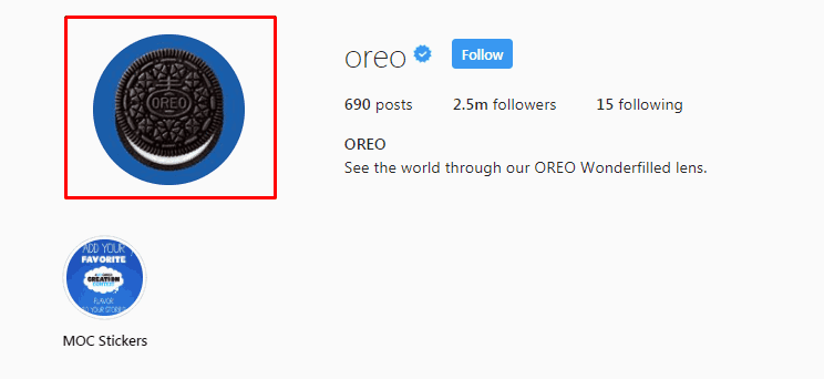 Screenshot of the Oreo Instagram profile