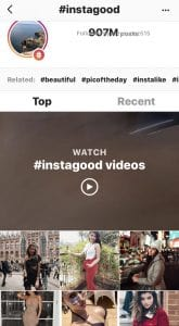 #instagood hashtag in the discover tab