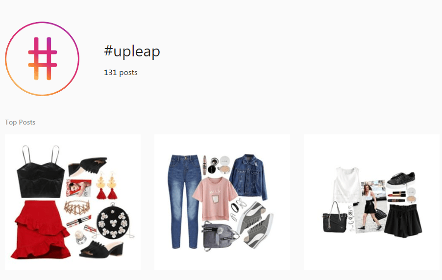 Screenshot of the #Upleap hashtag