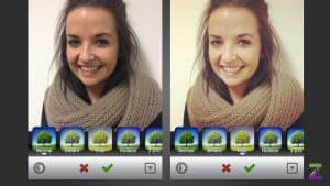 Girl In Scarf Editing Instagram Photo