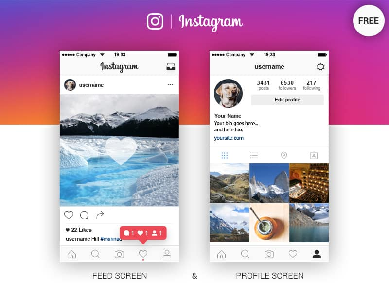 Instagram App Feed And Profile
