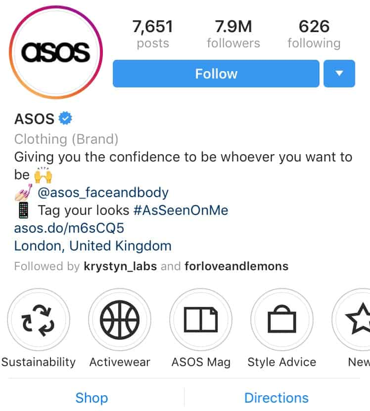 ASOS Instagram Highlight covers