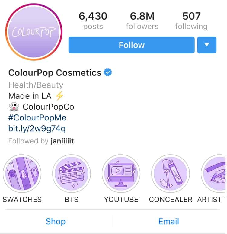 ColourPop IG Highlight icons