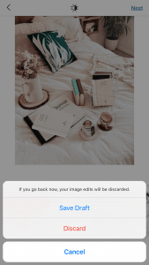 Option To Save Draft On Instagram Button