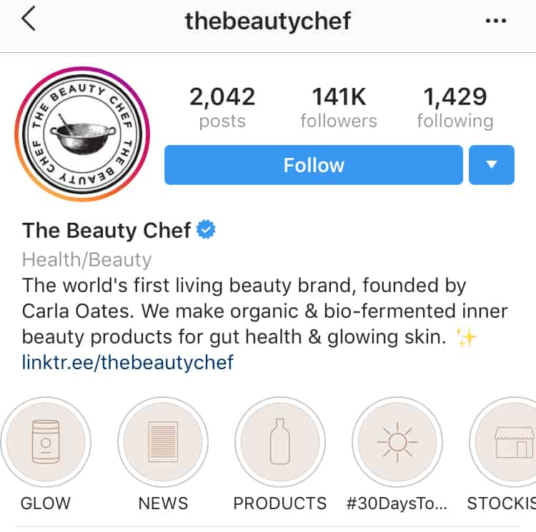 The Beauty Chef's Instagram Highlight covers