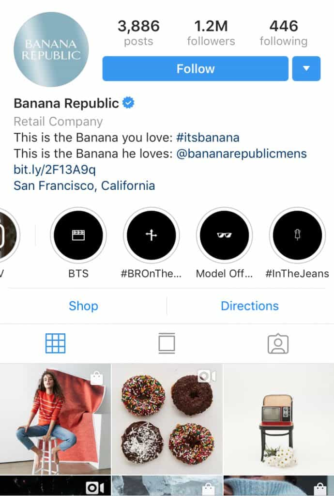 Banana Republic Instagram Highlight covers