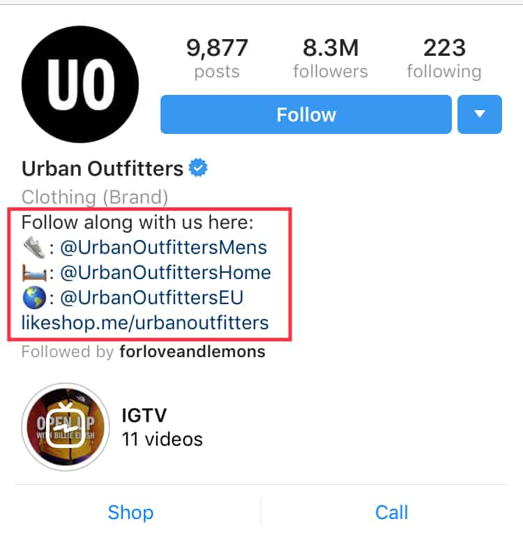 Urban Outfitters bio links