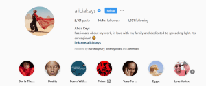 Alicia Keys Instagram Bio
