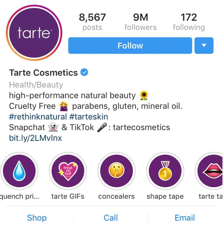 tarte cosmetics IG Highlight icons