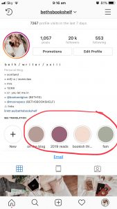 Screenshot of Instagram Profile With Circled Highlights