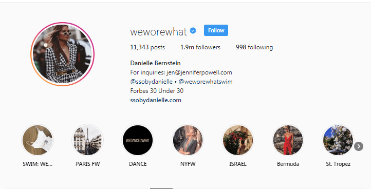 WeWoreWhat Instagram profile