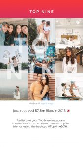 Screenshot of Jess's Instagram Top Nine for 2018